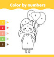 coloring page with girl holding balloons color by vector image vector image