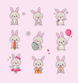 cute bunny kawaii character sticker set vector image vector image