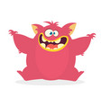 cute cartoon monster waving hands vector image