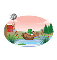 duck in the middle of the pond vector image vector image