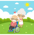 elderly couple take care sitting on wheelchair vector image vector image