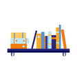 flat blue wall bookshelf with documents vector image