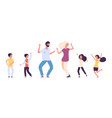 flat dancing people happy kids and adults dancers vector image vector image