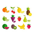 fruit flat icons set vector image