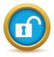Gold unlock icon vector image