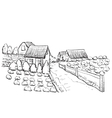 Hand drawn village houses sketch and nature vector image vector image