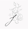 handwritten line drawing floral logo monogram i vector image vector image