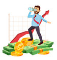 happy businessman celebrating victory vector image