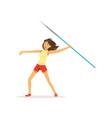 happy girl taking part in javelin throw vector image