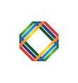 hexagon logo - perspective geometric abstract hive vector image