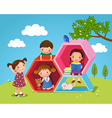 Kids playing and reading with hexagon shaped in vector image