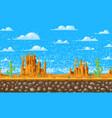 landscape background pixel art 8-bit game vector image