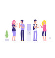 office cooler break man and woman drinking water vector image