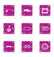 parking protection icons set grunge style vector image
