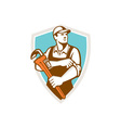 Plumber Monkey Wrench Rolling Sleeve Shield Retro vector image vector image