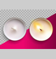 realistic classic candle in a metal cup vector image