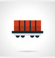 red rail car platform flat red icon vector image vector image