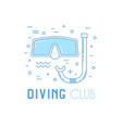 scuba diving line art with mask vector image
