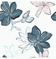 seamless blue navy floral pattern tender blue vector image vector image