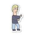 sticker of a cartoon angry man vector image