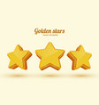 three golden stars template for mobile game vector image