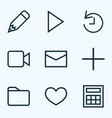 user icons line style set with dossier calculate vector image
