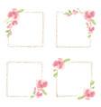 watercolor pink magnolia minimal square frame vector image