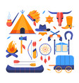 wild west - set flat design style elements vector image