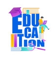 word education deacorated with school accessories vector image vector image