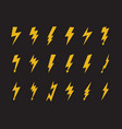 yellow electric lightning icon set isolated on vector image