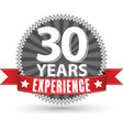 30 years experience retro label with red ribbon vector image