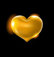 big golden heart on a black background vector image