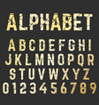 broken font alphabet set of letters and numbers vector image vector image