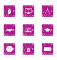 building business icons set grunge style vector image