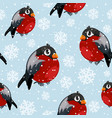 bullfinch birds seamless pattern with snowfall vector image vector image