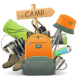Camping Concept with Backpack vector image vector image