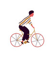 casual colorful male riding city bicycle vector image vector image
