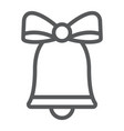 christmas bell line icon xmas and design vector image