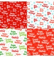 christmas lettering seamless patterns vector image vector image