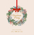 christmas wreath with holly berries mistletoe vector image vector image