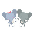 colorful caricature with couple of elephants vector image