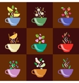 Cups With Tea Set Berries Lemon Mint Vanilla vector image vector image