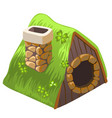 cute fairy house dugout with chimney isolated vector image vector image