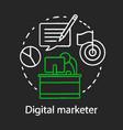 digital marketer chalk concept icon vector image vector image