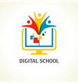 digital school open book people logo vector image vector image