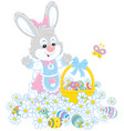 easter egg hunt in flowers vector image vector image