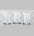 empty crystal glass trophy awards set glossy vector image