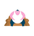 fat guy is sitting on chair glutton thick man vector image