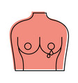 female torso with breast cancer examining vector image vector image