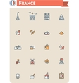 france travel icon set vector image vector image